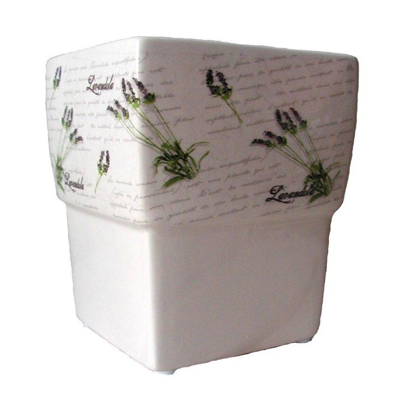 Bertopf keramik blumentopf wei lavendel eckig 13cm f r for Blumentopf landhausstil