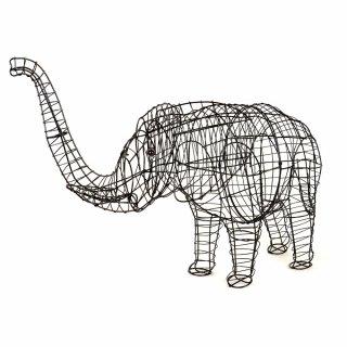 Garten-Figur Elefant Gartendeko Drahtgestell 46 cm - tropical-world ...